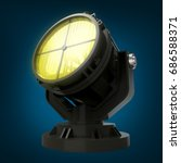military antiaircraft searchlight at night. 3d illustration
