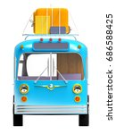 blue retro bus with roof rack... | Shutterstock . vector #686588425