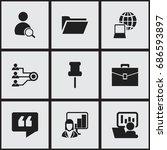 set of 9 editable bureau icons. ...   Shutterstock .eps vector #686593897