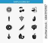 set of 12 editable fruits icons.... | Shutterstock .eps vector #686593987