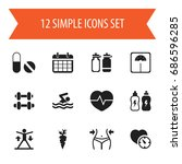 set of 12 editable sport icons. ...