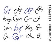 collection of vector signatures ...   Shutterstock .eps vector #686599561