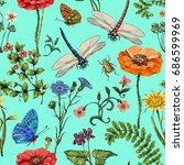 summer seamless pattern.... | Shutterstock . vector #686599969