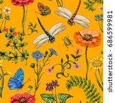summer seamless pattern.... | Shutterstock . vector #686599981