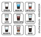 coffee menu.paper cup. icon set. | Shutterstock .eps vector #686600104