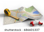 3d illustration of city map...   Shutterstock . vector #686601337