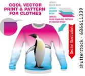 print imperial penguin. vector... | Shutterstock .eps vector #686611339