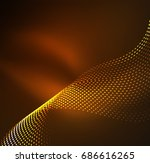 wave particles background   3d ... | Shutterstock . vector #686616265