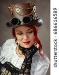 portrait of beautiful steampunk ... | Shutterstock . vector #686616589