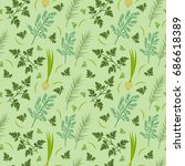 herbs seamless pattern. parsley ... | Shutterstock .eps vector #686618389