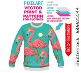 print pink flamingo. vector... | Shutterstock .eps vector #686625544