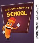 pencil illustration  school... | Shutterstock .eps vector #686628874