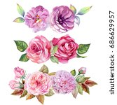 set of flowers bouquets...   Shutterstock . vector #686629957