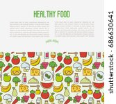organic food concept with thin... | Shutterstock .eps vector #686630641