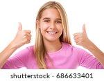 happy smiling teen girl  with... | Shutterstock . vector #686633401