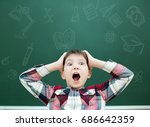schoolboy on the background of... | Shutterstock . vector #686642359