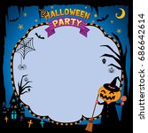 happy halloween background with ... | Shutterstock .eps vector #686642614