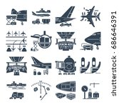 set of black icons airport and... | Shutterstock .eps vector #686646391
