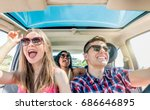 young friends in car having fun ... | Shutterstock . vector #686646895