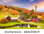 vermont  usa early autumn rural ... | Shutterstock . vector #686650819