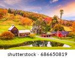 vermont  usa early autumn rural ... | Shutterstock . vector #686650819