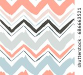 seamless hand drawn zigzag... | Shutterstock .eps vector #686663521