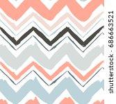 seamless hand drawn zigzag... | Shutterstock .eps vector #686663521