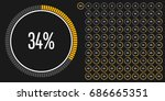 set of circle percentage... | Shutterstock .eps vector #686665351