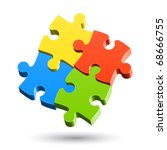 jigsaw puzzle. vector. | Shutterstock .eps vector #68666755