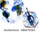 abstract globe  watercolour... | Shutterstock . vector #686670265