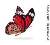 beautiful red monarch butterfly ... | Shutterstock . vector #686673499