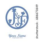 j f initial wedding decorative... | Shutterstock .eps vector #686673649