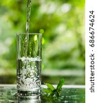 cool fresh water with ice and... | Shutterstock . vector #686674624