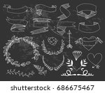 hand drawn banners  wreaths and ... | Shutterstock .eps vector #686675467