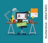 graphic designer vacancy. cool... | Shutterstock .eps vector #686676601