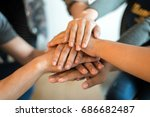 close up hands  teamwork by... | Shutterstock . vector #686682487