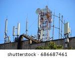 telecommunication base stations ...   Shutterstock . vector #686687461