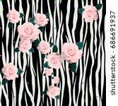 flower pattern background. rose ... | Shutterstock . vector #686691937