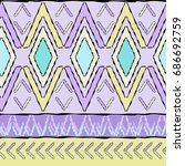 seamless boho chic pastel... | Shutterstock .eps vector #686692759