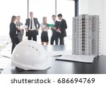 business meeting of architects... | Shutterstock . vector #686694769