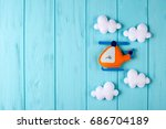orange craft helicopter and...   Shutterstock . vector #686704189