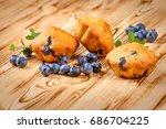 blueberry muffin. homemade...   Shutterstock . vector #686704225
