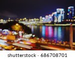 Small photo of blur photo of colorful light city scrape along the river side - Chongqing China