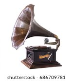vintage gramophone isolate on... | Shutterstock . vector #686709781