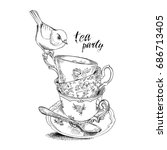 tea party invitation card with... | Shutterstock .eps vector #686713405