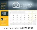 june 2018. desk calendar for... | Shutterstock .eps vector #686715151