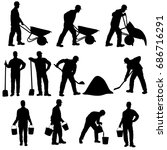 set of vector silhouettes of... | Shutterstock .eps vector #686716291