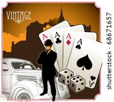 Designed vintage gambling background. Vector illustration. - stock vector