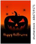 halloween background with... | Shutterstock .eps vector #686719171
