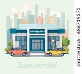 supermarket building vector...   Shutterstock .eps vector #686719375